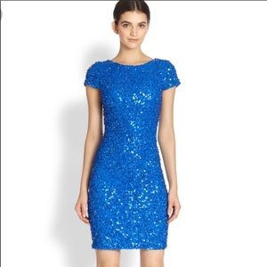 Alice + Olivia Blue Taryn Capsleeve Sequin Dress